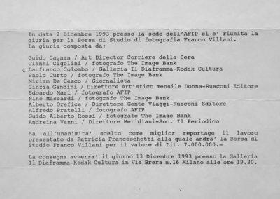 Prize Franco Villani, december 1993
