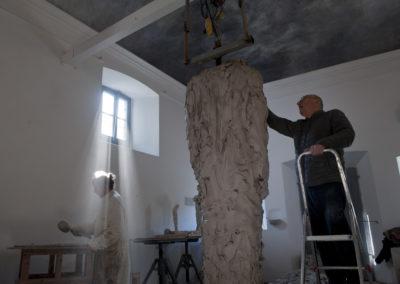 "Jørgen Haugen Sørensen with assistant Marc-Michel Loret working on the sculpture ""The Shadow"""