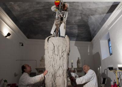 "Jørgen Haugen Sørensen with wife Eli Benveniste and assistant Marc-Michel Loret working on the sculpture ""The Shadow"""