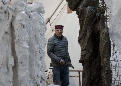 """Jørgen Haugen Sørensen working on the sculpture """"The Crowd"""""""