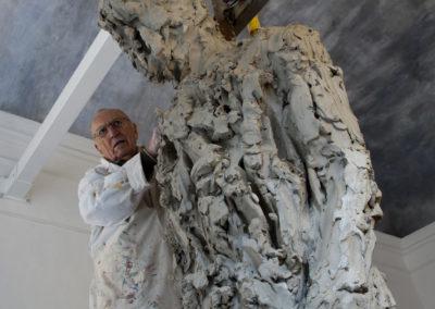 """Jørgen Haugen Sørensen working on the sculpture """"The Shadow"""""""